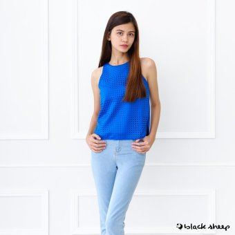Blacksheep Perforated Sleeveless Top With Back Zipper Opening (Blue)