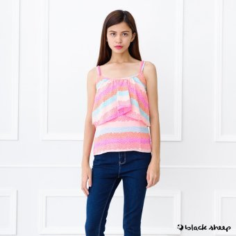Blacksheep Stone Printed Spaghetti Strap Top With Inner Tank (Pink)