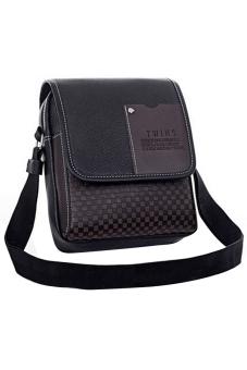 Blue lans Leather Shoulder Bag (Black)