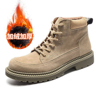British men to help men boots Martin boots (Plus velvet J0055 sand color)