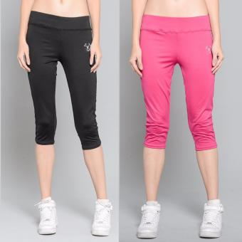 BUY 1 TAKE 1 Outperformer Casual Capri Pants with 3D Extra Stretchand Dry Max Technology (Ebony and Exotic Pink)