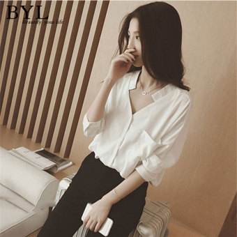 BYL shirts long sleeve casual women blouse popheko (White)
