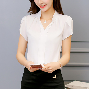 CALAN DIANA Women's Fashion V-Neck Chiffon Short Sleeve Shirt Color Varies (White)