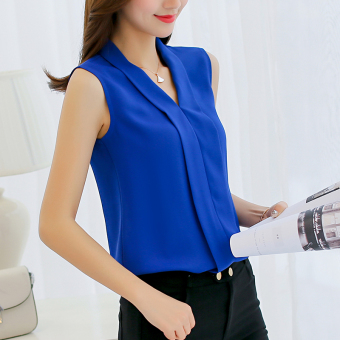 CALAN DIANA Women's V-Neck Chiffon Sleeveless Shirt (Sapphire Blue)