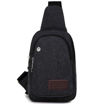 Canvas Mens Satchel Shoulder Bag Chest Pack Crossbody Sports Bag Black - intl