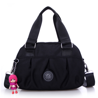 Casual nylon shoulder cross-body shoulder bag cloth bag (Black)