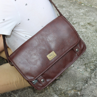 Casual PU Leather men's bag shoulder bag (Deep Brown)