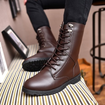 Central, leather boots, men, trends, waterproof, casual, armyboots, skid proof, motorcycle, single boot, Martin boots - intl