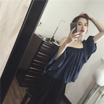 Chic retro spring and summer New style horizontal neck shirt (Dark blue color) (Dark blue color)