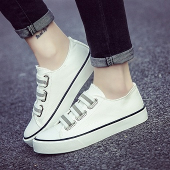 Chic versatile student super fire cloth shoes New style sail cloth shoes (White)
