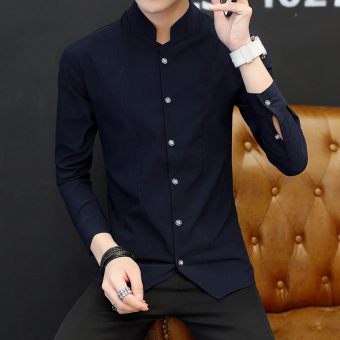 Chinese-style retro male long-sleeved men's Shirt shirt (9902 dark blue color)