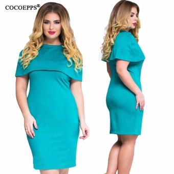 COCOEPPS 2017 Summer Elegant Women 5XL 6XL Plus Size Ruffles Dresses clothing Femme Large Big Size Evening Party Office Dress - intl