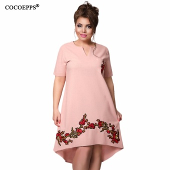 COCOEPPS Fashionable Embroidery Dress 2017 Summer Large Size V-Neck Women Dress Plus Big Size Loose Short Sleeve Female Vestidos - intl