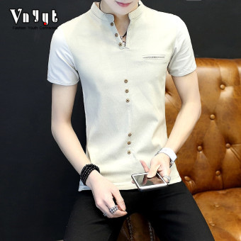Cool men New style youth T-shirt polo shirt (1705 Khaki)