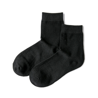 Cotton solid color men's Spring and Autumn Socks ((2) Black)
