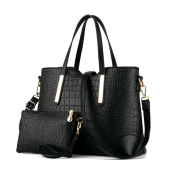 Crocodile pattern sling bag Crossbody Bag bag (Black-with small bag)