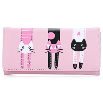 Cute Cat Snap Fastener Long Horizontal Wallet for Girl - intl