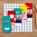 Cute cotton summer thin game socks (Game cartoon Human 5 pairs of a color)