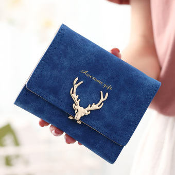 Cute matte deer wallet short wallet (Sapphire blue color)