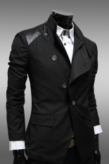 PHP 1.743. Cyber Men Mens Casual Slim Fit Stylish Korean Dress Coats Jackets Suit ( Black ) ...