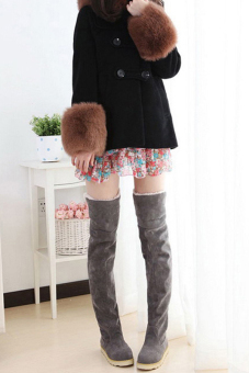 Cyber New Anti-skidding Winter Snow Boots Flat Bottom High Knee Boots (Grey)