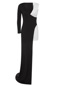 Cyber Women Ladies Sexy Long-sleeve V-neck Slit Dress Evening Gown ( Black + White )