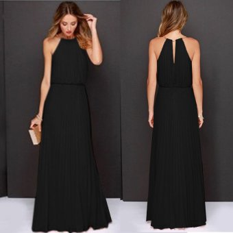Cyber Women's Sexy O-neck Sleeveless Back Hollow Out Long Dress ( Black )