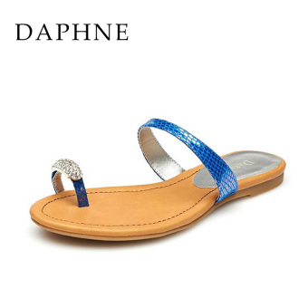 Daphne casual slip flat female sandals and slippers (Blue purple 166)