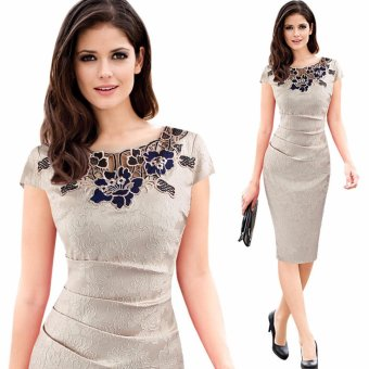 Elegant Women Floral Lace Bodycon Summer Dress Ladies Office Work Party Sheath Pencil Dresses Tunic 2017 Khaki - intl