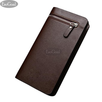 EsoGoal Business Men Wallets Solid PU Leather Purse Long Bifold Wallet Portable Cash Coin Purses Zipper Wallets Male Clutch Bag (Brown) - intl
