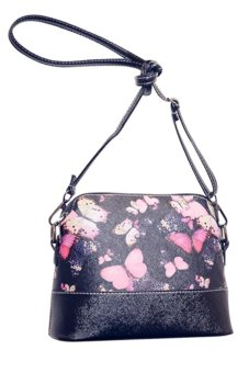 EsoGoal Flower Pattern Leather Messenger Bag Crossbody Shoulder Bags For Women, Butterfly - intl