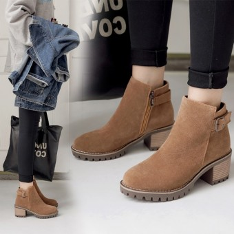 European and American matte waterproof platform semi-high heeled shoes thick with short boots (Beige)
