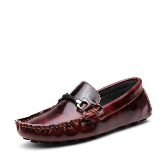 Fashion Leather Discolored Men Loafers - Wine red