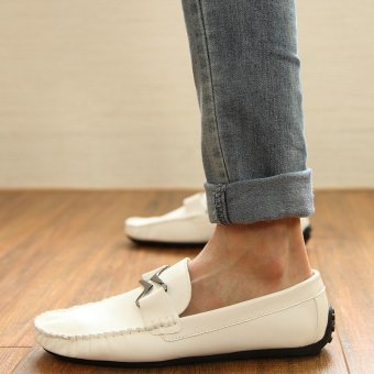 Fashion Leather Flat Loafers-White - picture 2