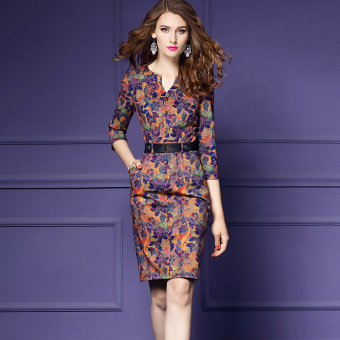 Fashion New style women printed one-step skirt dress
