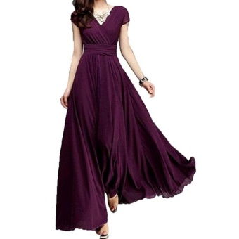 Fashion Summer Style V-Neck Short Sleeve Floral Dress For WomenBohemia Long Beach Maxi Dress(Wine Red) - intl