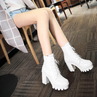 Fashion Women's Platform With Shoes Martin Short Boots OutsoleBoots High-heeled(White) - intl