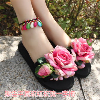 Female flat slip flower sandals and slippers sandals (Black flat Rose sandals)