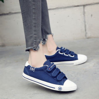 Female flat student shoes white low top canvas shoes (Dark blue color)
