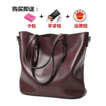 Female New style tote bag (Deep wine red [Collection baby to send clutch bag card holder])