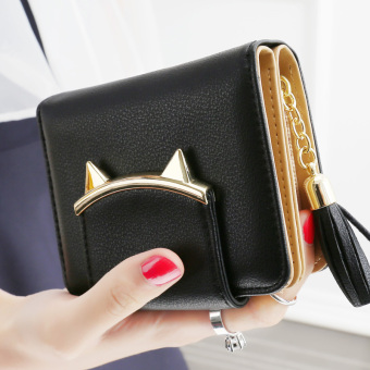 Female short zipper cute purse women's wallet (Black)