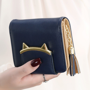 Female short zipper cute purse women's wallet (Dark blue)