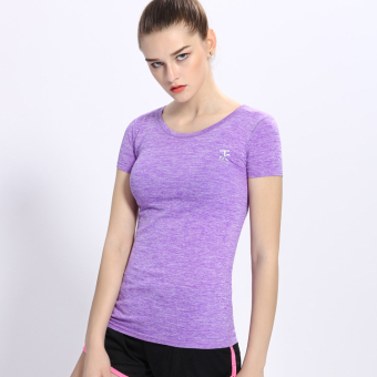 Female Slim fit running fitness clothing yoga clothes Sports Short sleeved t-shirt (Violet) (Violet)