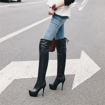 Female waterproof platform super high-heeled thin heeled knee boots knight boots (Black)