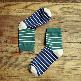 Fine comb cotton tube striped men socks (Dark green color)