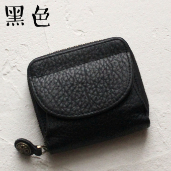 First layer of leather female mini coin purse small wallet (Black)