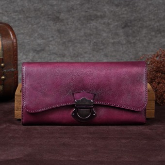 First layer of leather women's handmade female leather wallet (Purple)