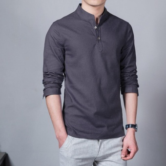 Flax Long Sleeve Shirt Men Chinese Style Retro Stand Collar Linen Shirts(Dark grey) - intl