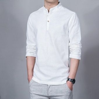 Flax Long Sleeve Shirt Men Chinese Style Retro Stand Collar Linen Shirts(White) - intl