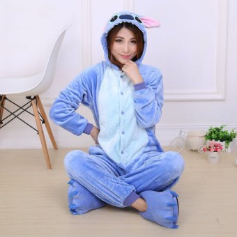 GETEK Stitch Adult Unisex Pajamas Cosplay Costume Onesie SleepwearS-XL (Blue)